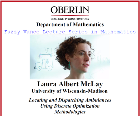 The poster for the Fuzzy Vance Lecture Series in Mathematics