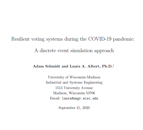 Resilient voting systems during the COVID-19 pandemic: A discrete event simulation approach